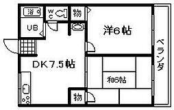 桐山ハイツ[101号室]の間取り