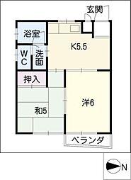 加福ハイツIII[2階]の間取り