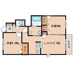 近鉄天理線 二階堂駅 徒歩21分の賃貸アパート 1階2LDKの間取り