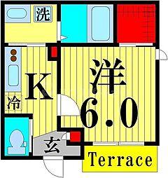JR京浜東北・根岸線 赤羽駅 徒歩13分の賃貸マンション 1階1Kの間取り