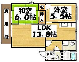 福岡県春日市塚原台1丁目の賃貸アパートの間取り