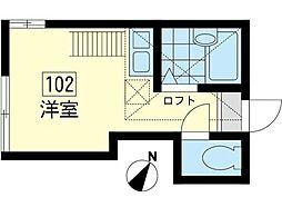 神奈川県横浜市鶴見区汐入町3丁目の賃貸アパートの間取り