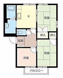 滋賀県東近江市八日市清水3丁目の賃貸アパートの間取り
