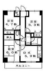 欅ハイツ(ケヤキハイツ)[2階]の間取り