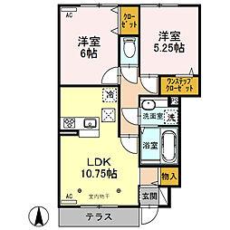 (仮)D-roomウィット北千木町[102号室]の間取り