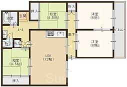 下野池第二住宅16棟[5階]の間取り