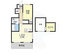 南海線 高石駅 徒歩3分の賃貸アパート 1階1LDKの間取り
