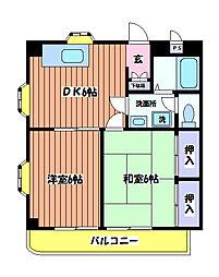 東京都日野市大坂上3丁目の賃貸マンションの間取り