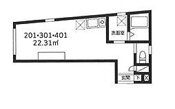 東京メトロ日比谷線 北千住駅 徒歩6分の賃貸マンション 3階ワンルームの間取り