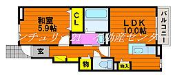 JR山陽本線 上道駅 3.2kmの賃貸アパート 1階1LDKの間取り