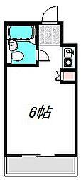 Osaka Metro谷町線 太子橋今市駅 徒歩5分の賃貸マンション 2階ワンルームの間取り