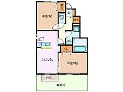 三重県四日市市茂福町の賃貸アパートの間取り