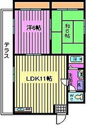 コーポ荒井[1階]の間取り