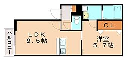 グランヒル竹下 3階1LDKの間取り