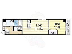 グランパシフィック生野東 6階1LDKの間取り