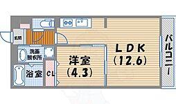 阪急今津線 西宮北口駅 徒歩13分の賃貸マンション 5階1LDKの間取り