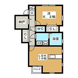 クレール南小泉[1階]の間取り