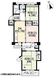 UR国立富士見台 3階3DKの間取り