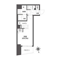 都営大江戸線 牛込柳町駅 徒歩3分の賃貸マンション 2階1Kの間取り