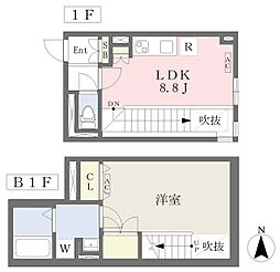 東京メトロ丸ノ内線 四谷三丁目駅 徒歩7分の賃貸マンション 1階1LDKの間取り