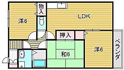 大阪府摂津市正雀2丁目の賃貸アパートの間取り