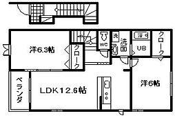 南海線 忠岡駅 徒歩11分の賃貸アパート 2階2LDKの間取り