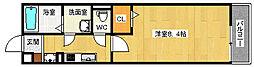 JR東西線 加島駅 徒歩6分の賃貸マンション 1階1Kの間取り