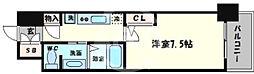 ブリリアント大阪西 5階1Kの間取り