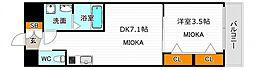 レオンコンフォート天王寺東 2階1DKの間取り