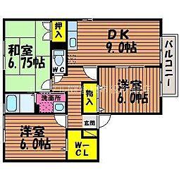 岡山県倉敷市西岡丁目なしの賃貸アパートの間取り