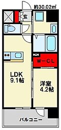 西鉄天神大牟田線 雑餉隈駅 徒歩5分の賃貸マンション 2階1LDKの間取り