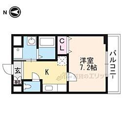 京都市営烏丸線 北山駅 徒歩7分の賃貸アパート 1階1Kの間取り