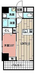 仮称(MDIマンション姪浜 2階1LDKの間取り