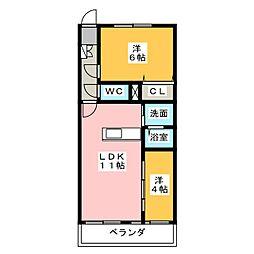 コーポうちふじ[5階]の間取り