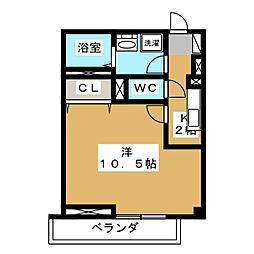 PALACE OGIKUBO 1階1Kの間取り
