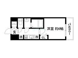 プレサンスTHE KYOTO 彩美 2階1Kの間取り