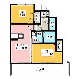 ファルツ稲上[1階]の間取り