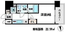 エスリード京橋桜ノ宮公園 12階1Kの間取り