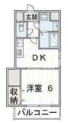 アクア 6階1DKの間取り