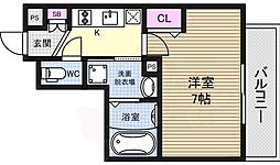 アスヴェル新大阪SOUTH 7階1Kの間取り
