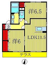 ロイヤルパークスC[1階]の間取り