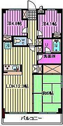 コスモ与野チェロード[4階]の間取り