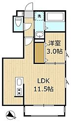メゾン・ド・フローレンス 3階1LDKの間取り
