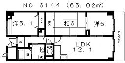 ヒルサイド四天王寺東 Bタイプ[2階]の間取り