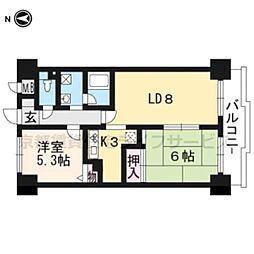 ダイアパレス京都蒔絵町203号室[2階]の間取り