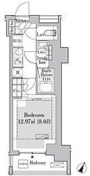 東京メトロ丸ノ内線 御茶ノ水駅 徒歩10分の賃貸マンション 5階1Kの間取り