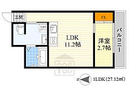 Osaka Metro谷町線 千林大宮駅 徒歩4分の賃貸アパート 2階ワンルームの間取り