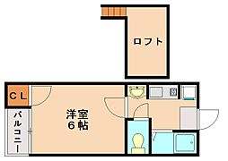 アイビス五条B[2階]の間取り