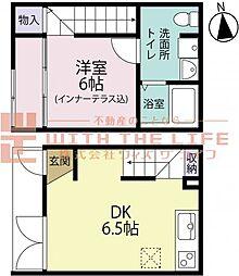 R-BOX津福III 1階1DKの間取り