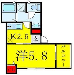 東武東上線 下板橋駅 徒歩7分の賃貸アパート 2階1Kの間取り
